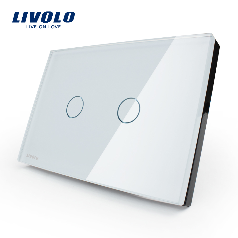Гаджет  Free shipping, LIVOLO, AC110~250V, Ivory White Glass Panel, 2-gang, US Touch Control Light Switch VL-C302-81 with LED indicator None Свет и освещение
