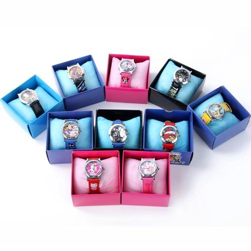 Newest Cute Boy's Girl's Cartoon Pattern Wristwatch Analog Quartz Watches Leather Children Watch with box(China (Mainland))