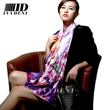 Brand Silk Scarf 2016 Spring New Floral Print Women Designer Scarfs Winter Polyester Infinity Long Silk Scarves For Women(China (Mainland))