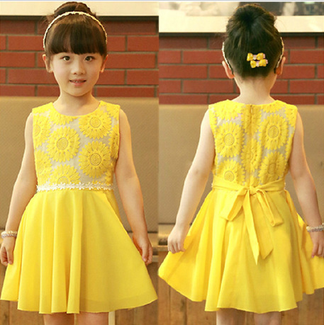 Retail New 2015 summer girls chiffon dresses children's clothing Sunflower baby girl dress princess tutu dress vestidos infantil(China (Mainland))