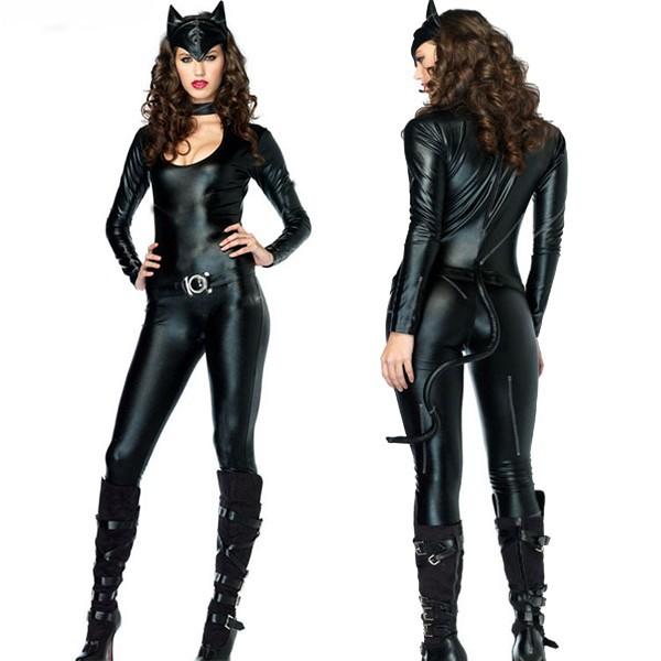 сексуальная изголодавшихся костюмы фетиш Черные латексные чулки cat костюмы животных Хэллоуин Косплей костюмы Размер m l xl