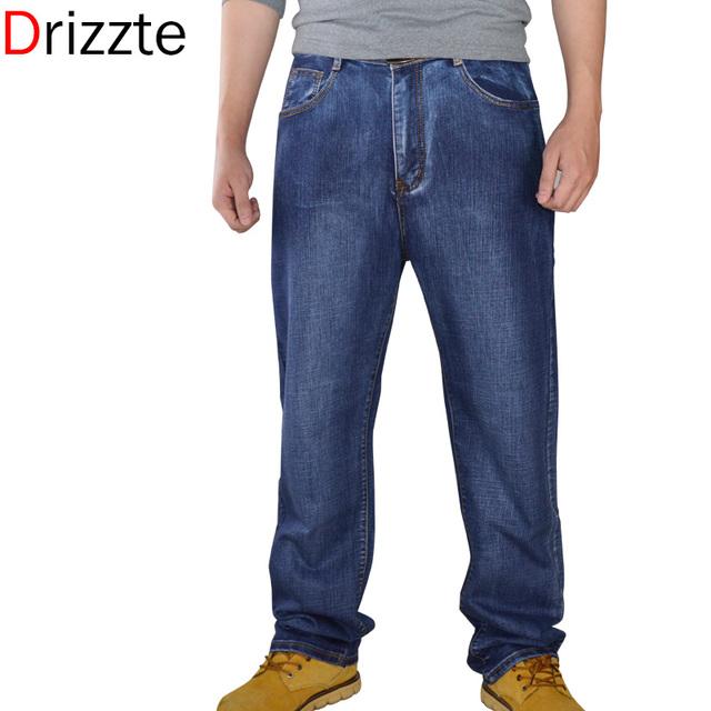 Drizzte мужчин джинсы хлопок джинсовые жан мужские прямые брюки со свободной посадкой ...