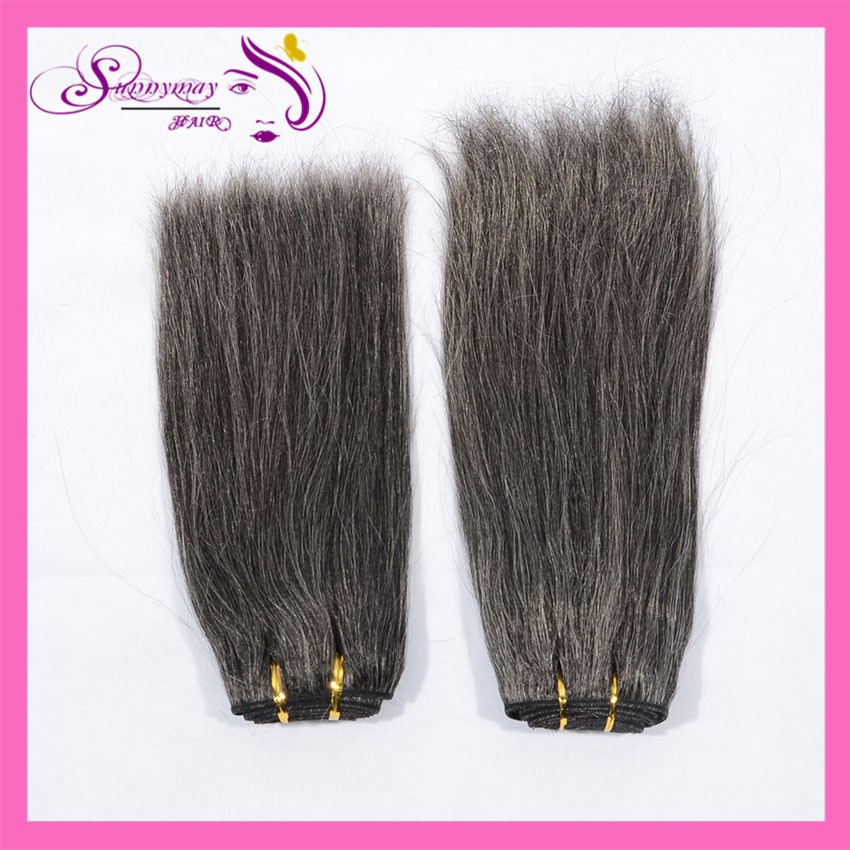 2015 Indian Grey Hair Extensions Yaki Straight Top Quality 6A Grade Grey Human Hair Bundles Machine Made Weft