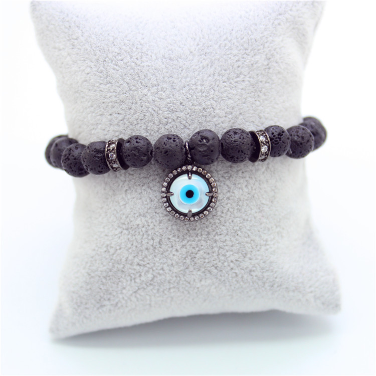 Anil Arjandas Fashion man girl bracelets Micro inlay zircon eyes Natural agate stone stretch Black Nature Stone Beads Bangle(China (Mainland))