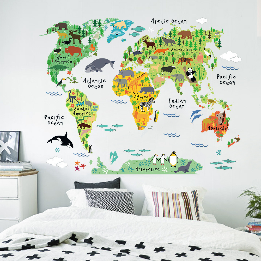 95*73cm cartoon animals world map green warm color home decal wall sticker for kids room useful nursery child maps mural(China (Mainland))