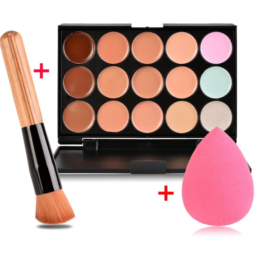 15 Color Concealer Palette + Wooden Handle Brush + Teardrop-shaped Puff Makeup Base Foundation Concealers Face Powder Makeup Set<br><br>Aliexpress