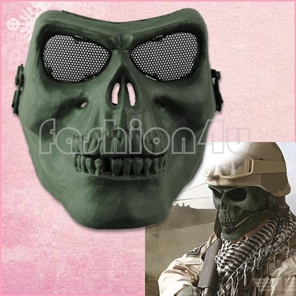 army green skull bone full face protective mask for airsoft hunting war games paintball mask EQZ461(China (Mainland))