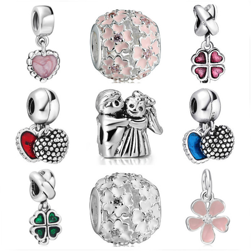 925 Sterling Silver Charm Heart and Petals Beads European Charms Silver Beads For Snake Chain Bracelet DIY Fashion Jewelry(China (Mainland))