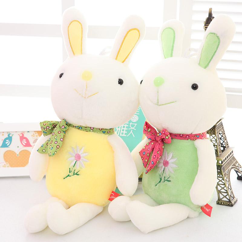 Free shipping/ Cute plush rabbit doll/ 53cm quality stuffed toy/ big ears flower rabbit doll/ birthday gift(China (Mainland))
