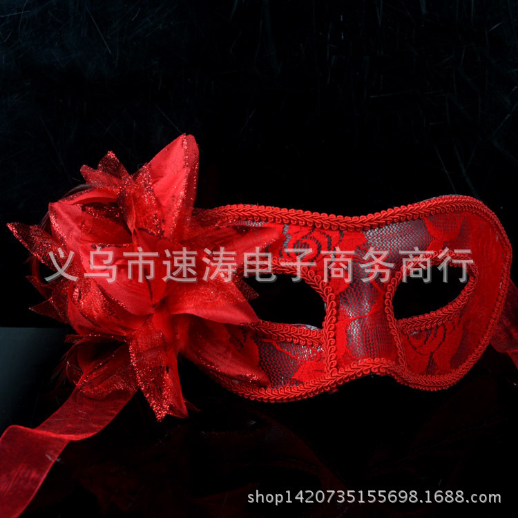 Promotional hot models handmade yarn fabrics Venice Glitter ball translucent lily flower feather mask(China (Mainland))