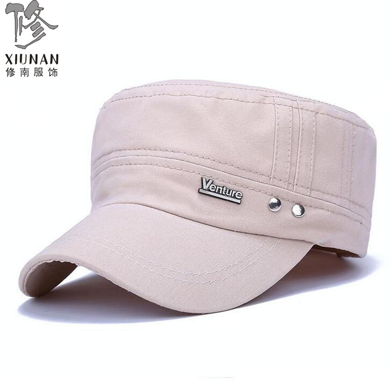 New men flat hat seasons fashion Letter V matel lable cotton hat cap Military peaked cap 5 colors cloth washed good quality(China (Mainland))