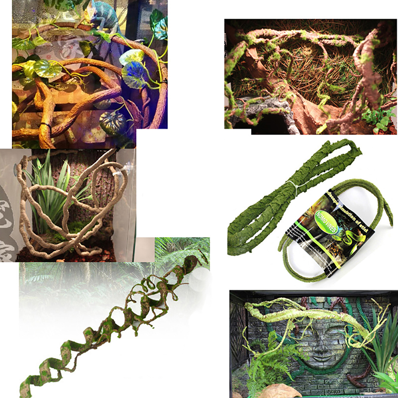 New pet supplies bedable fake plastic artificial vine reptile cage small animals bend jungle habitat decor lizard frogs snakes(China (Mainland))