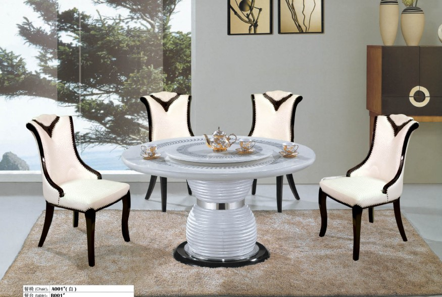 High quality marble dining table and 4 chairs 0446-A001(China (Mainland))