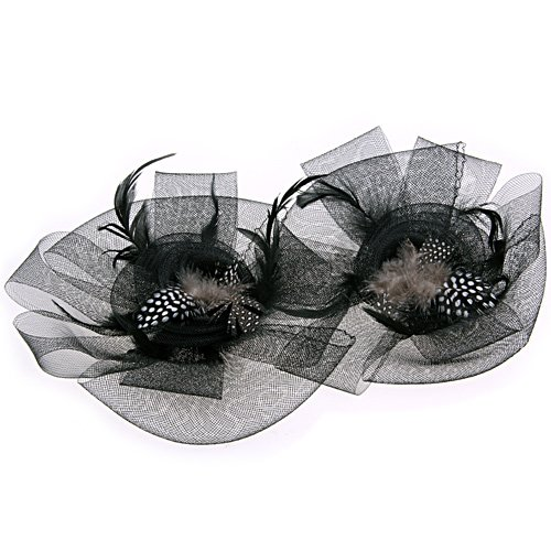 10x( 2016 Black Flower Feather Organza Mesh Hair Clip Fascinator Wedding(China (Mainland))