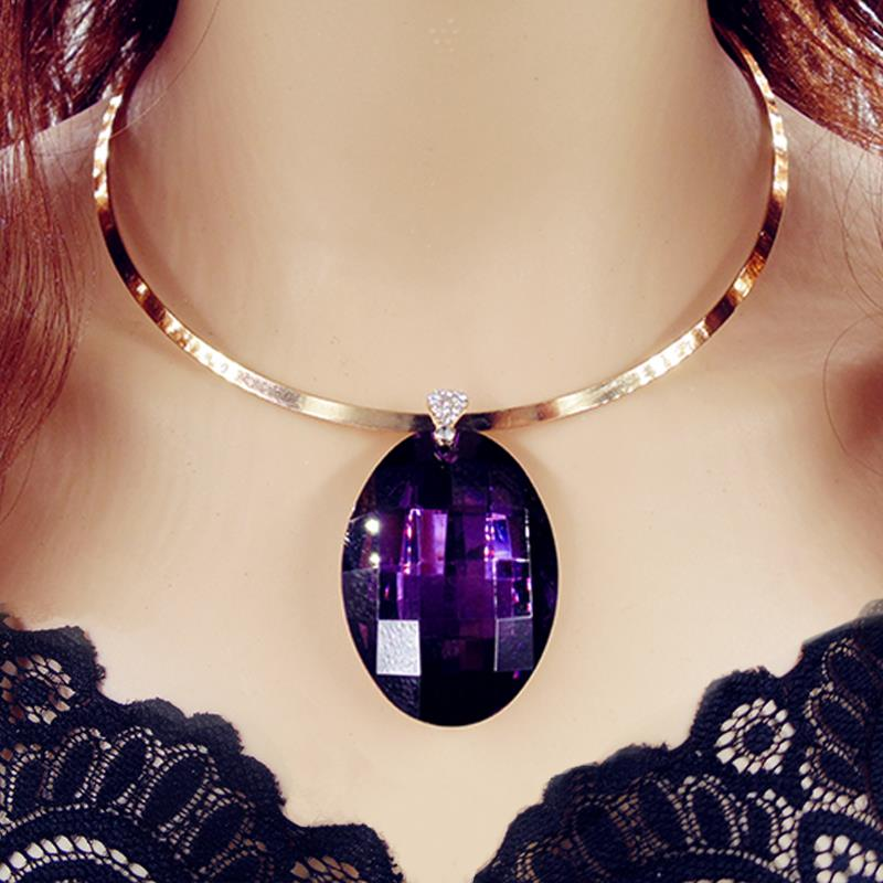 Purple Geometric Grass Crystal Drop Shorts Gold Torques Collar Choker Statement 2016 New Necklaces &amp; Pendants Fashion Women N50<br><br>Aliexpress