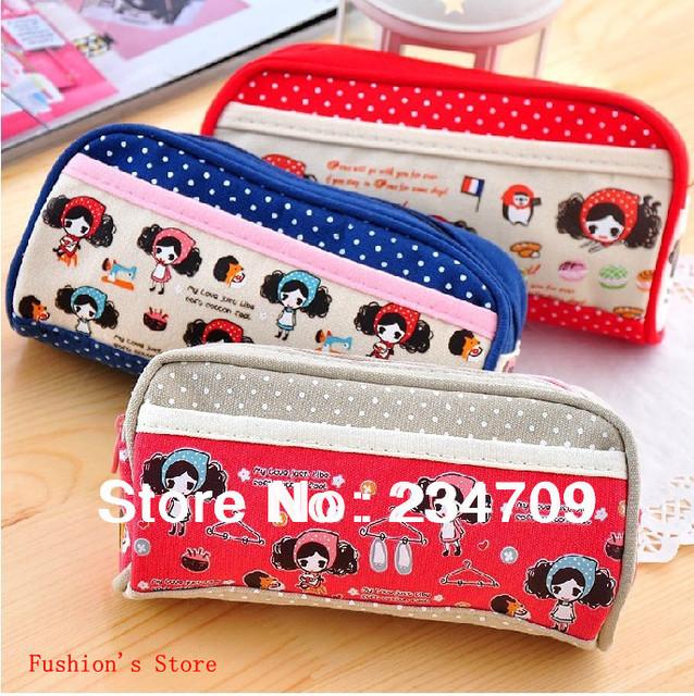 Free shipping,hot sell!dot zipper canvas 3 color cartoon handbags,women messenger bags,cosmetic bag&cases,makeup bag,1 pcs/lot