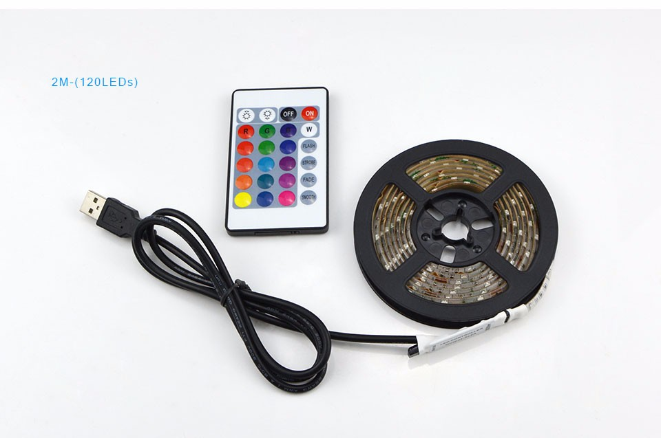 1Set SMD 3528 RGB USB LED Strip Light Waterproof DC 5V String Light With 24 Key Remote Controller For TV Background Lighting
