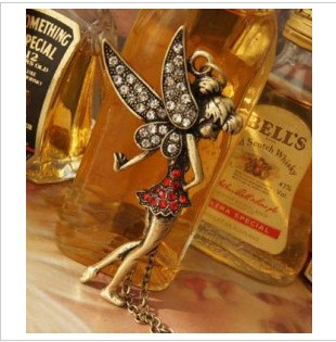 NK108 Wholesales Peter Pan's Little Fairy Crystal Necklace Long Paragraph Vintage Jewelry(China (Mainland))