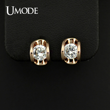UMODE 18KRGP Gold Plated 0.5 carat Cubic Zirconia Diamond Stone Stud Earrings JE0218(China (Mainland))