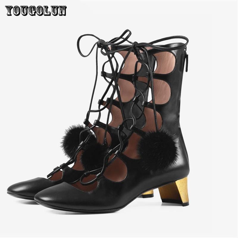 Фотография Women black genuine leather sandals women summer fashion boots sexy round toe sandal strange style Ladies gladiator boots shoes