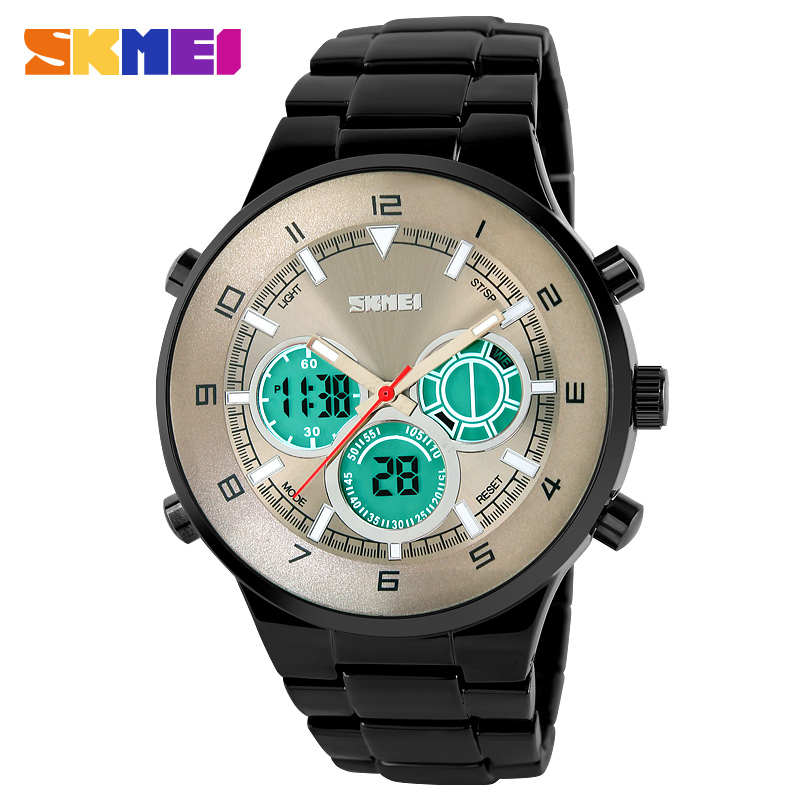 United States Business and leisure time dual display waterproof electronic luminous wristwatch male retro men's fashion quartz(China (Mainland))