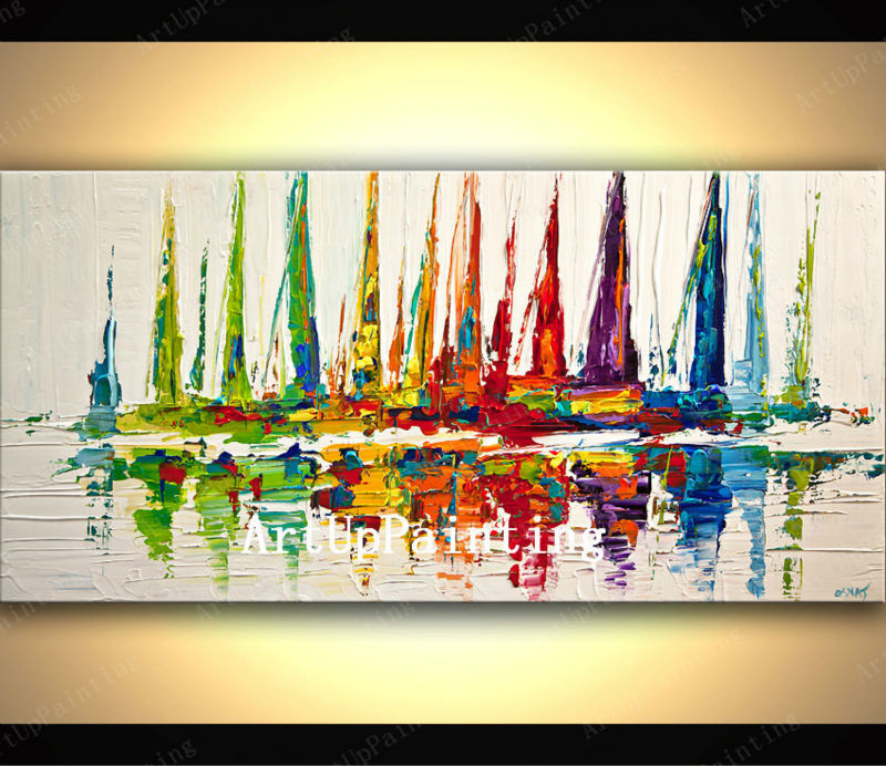 Hand painted canvas oil paintings abstract oil painting huge modern abstract oil painting boat ship sailing 7(China (Mainland))