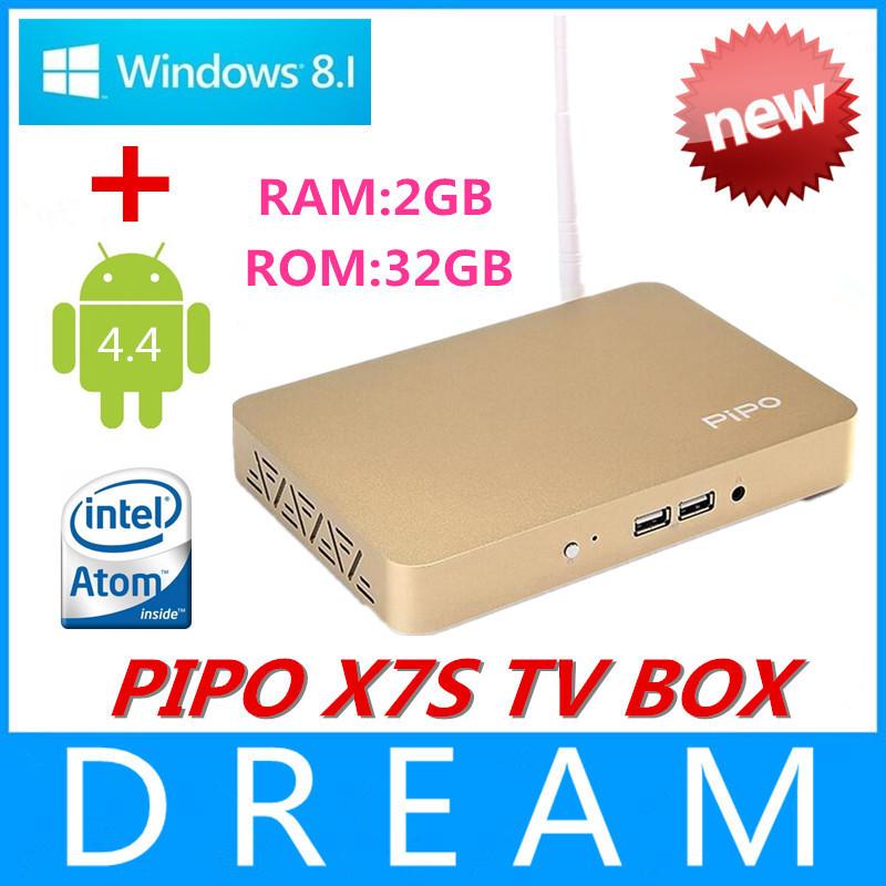 10pcs/lot PIPO X7S Smart TV BOX Windows8.1&Android 4.4 Dual OS Mini PC Intel Z3736F 2G RAM 32G ROM 1.8GHz Quad Core media player(China (Mainland))