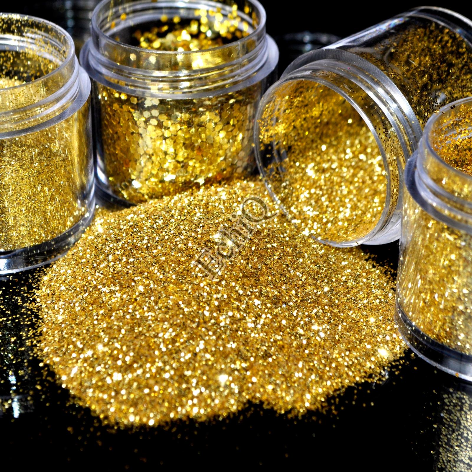 4 Sizes Pure Gold Nail Glitter Powder Shimmer Hexagon Nail Art DIY Small Glitter Dust Powder Sequins Sheet in Clear Jar(China (Mainland))