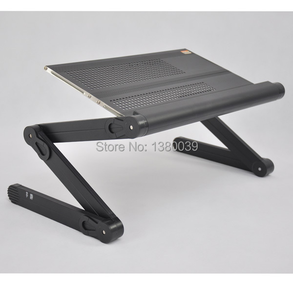 Folding portable metal office laptop desk with full black color and aluminum mouse pad for sofa bed stand(China (Mainland))