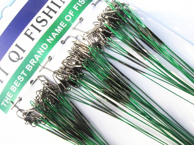Lure Leader Wire Steel Wire Lead Rope Hanging Board Fishing Tackle Conductor Character Ring Anti-bite Line Green Wire-72 P30(China (Mainland))