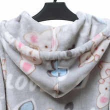 Song Riel autumn and winter flannel pajamas cartoon couple of men and women thick hooded tracksuit