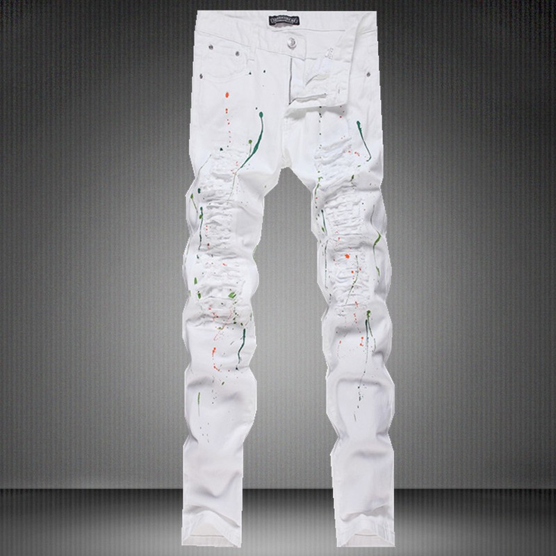 High Quality White Cutting Jeans Men-Buy Cheap White Cutting Jeans ...