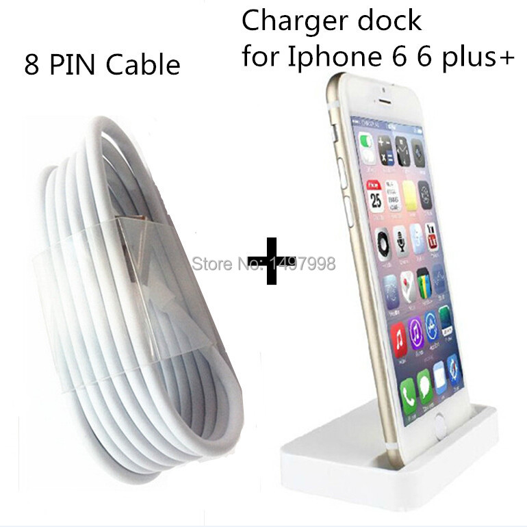 2in1 New Original Charger Dock For Apple Iphone 6 6Plus 5 5s 5c + 8 pin Smart Chargering Cable perfect fit for ios 8,White(China (Mainland))