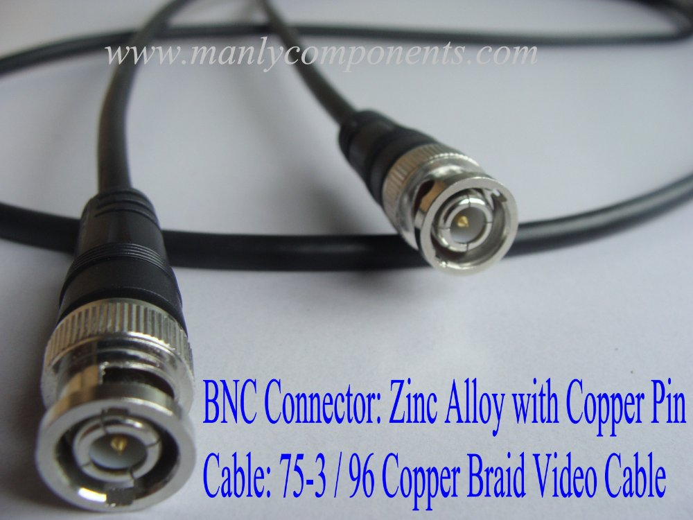 Wholesale 1000pcs Zinc Alloy with Copper Pin BNC Connector 75-3 96 Braid Video RG59 Cable 2m Length(China (Mainland))