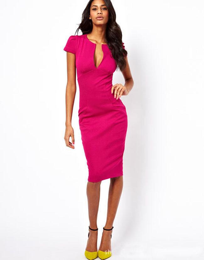 2015 New Vestidos Casual Clothes V Neck Short Sexy Slim Bandage Pure Bodycon Pencil Dresses Women