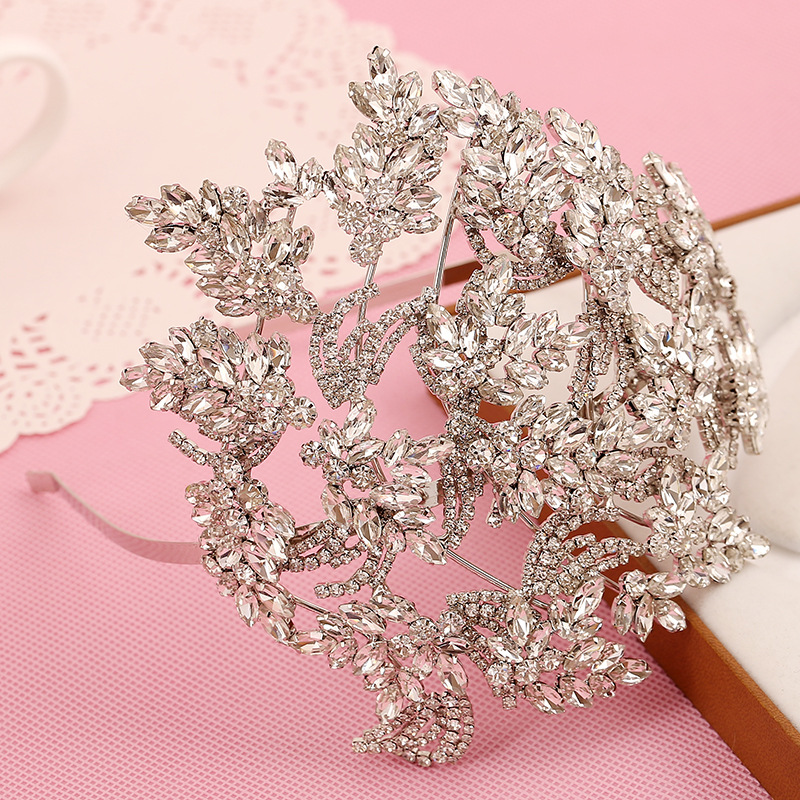 Luxury Royal Crown Handmade Pave Clear rhinestone Tiara Bridal Wedding Hair Jewelry Accessories Women Pageant Crown