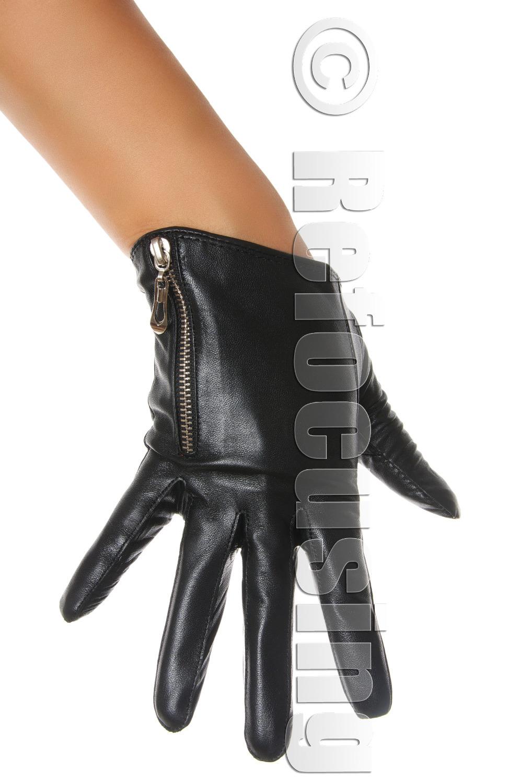 Womens leather biker gloves - Ladies Black Zip Leather Gloves Sexy Zipper Biker