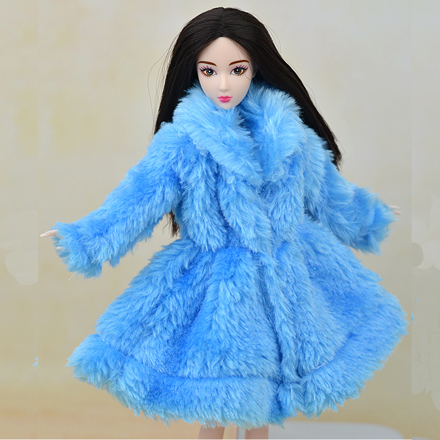 Kids Toy Doll Accessories Winter Warm Wear Overcoat Blue Fur Coat Mini Clothes For Barbie Dolls Fur Doll Clothing(China (Mainland))