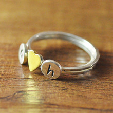 Personalized Initials Stack Ring,golden heart ring, silver ring, custom jewelry for mom girlfriend gift(China (Mainland))