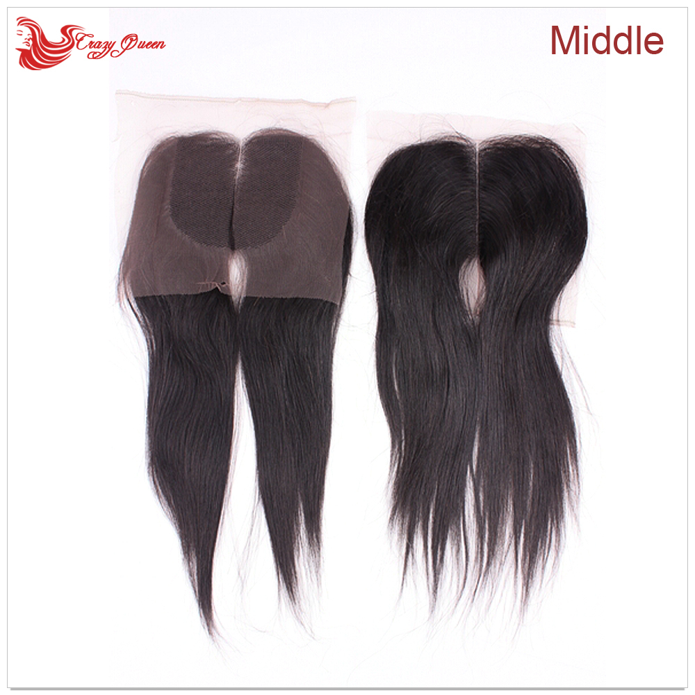 Brazilian Straight Lace Closure bleached knots 4x3.5 inch #1B 3Part Free / Middle Part Virgin Human Hair Closures(China (Mainland))