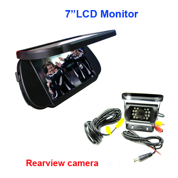 """Free Shipping!!7"""" LCD Color Car Rearview Mirro+ Bus Truck Night Vision Waterproof Camera,Metal"""
