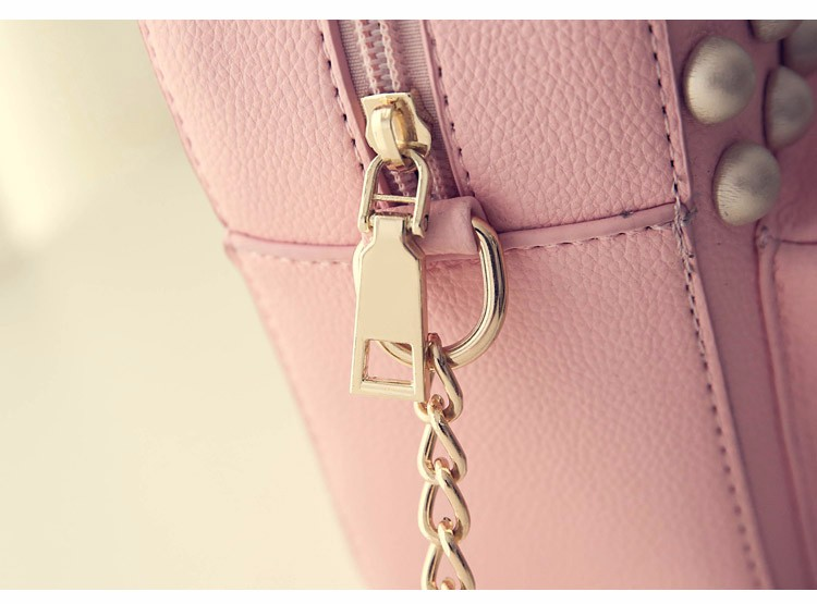Edgy Big Rivet Casual Small Bag 2016 Fashion New Stylish PU Shoulder Bag Litchi Stria Leather Ladies MINI Chain Crossbody Bag