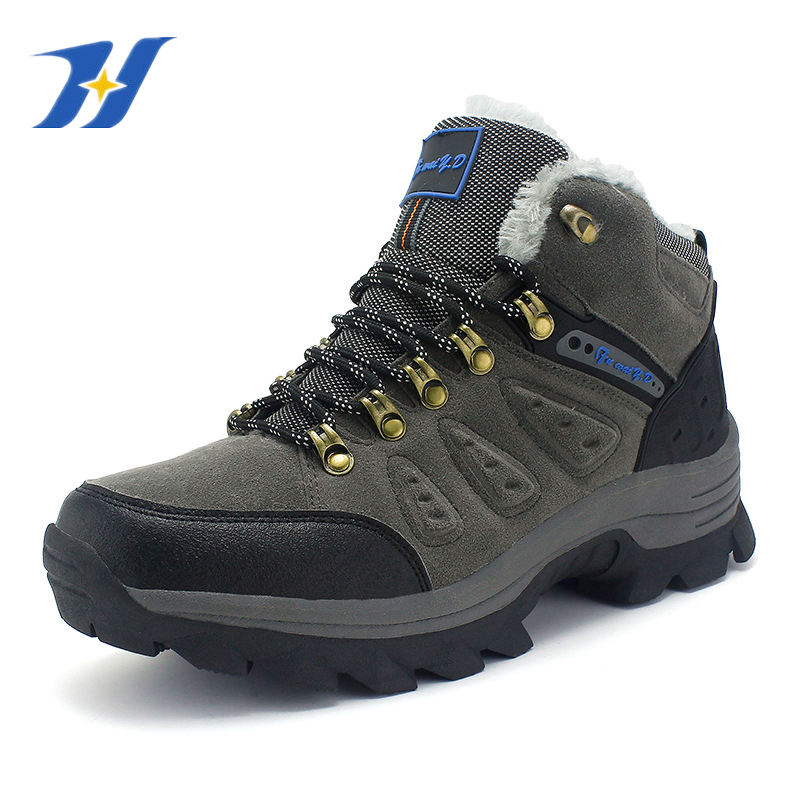 New Mens Mountain Climbing Shoes Waterproof Brand Plush Anti-skid  Breathable Outdoor Hiking Shoes Trekking Warm Snow Boots