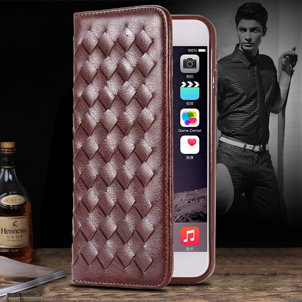 I6 Plus Weaving Case Flip Magnetic Wallet Cover For Iphone 6S Plus 5.5inch Full Protect Phone Shell PU Leather Cell Phone Case(China (Mainland))
