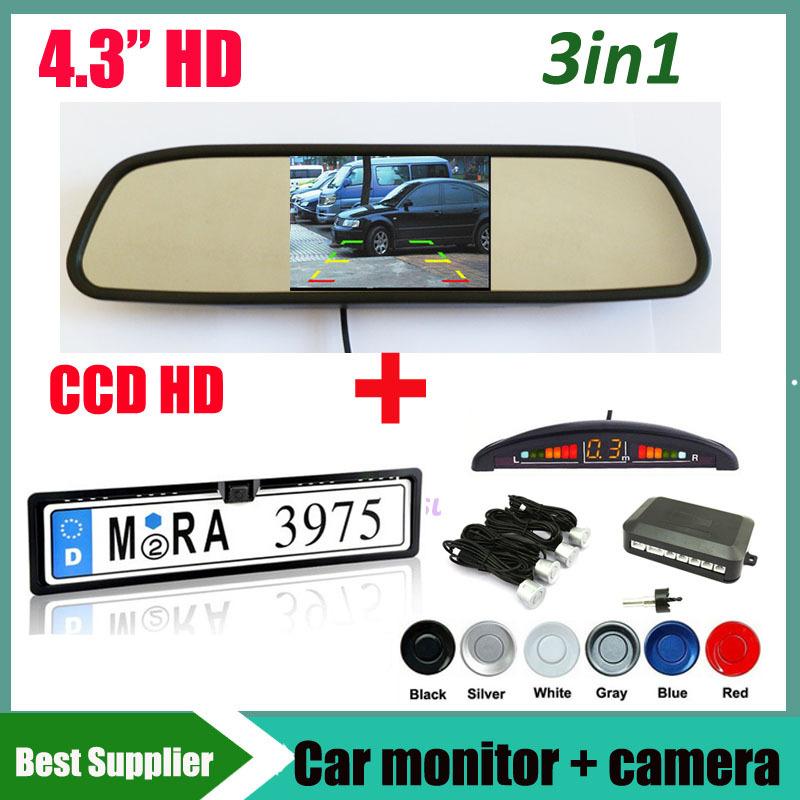 "CCD car rear view parking camera Car License Plate Frame For EU Car and parking sensor with LED Display 4.3"" car monitor mirror(China (Mainland))"