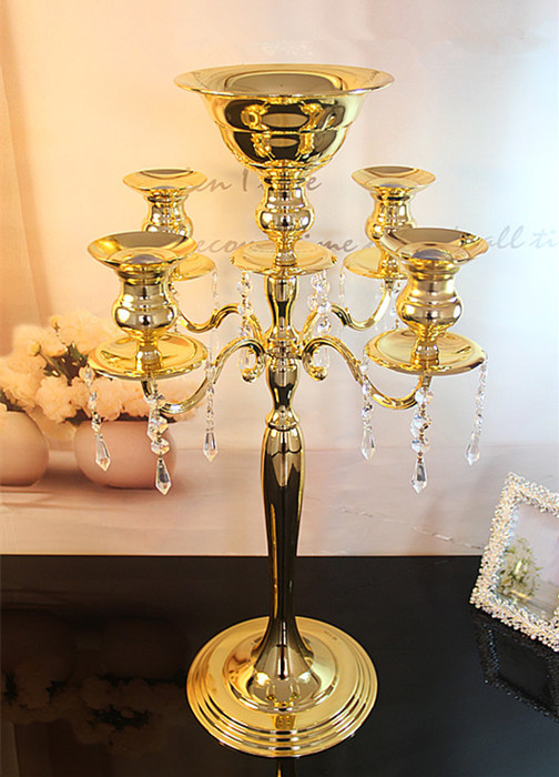 Colors gold silver arms candlestick centerpiece vase