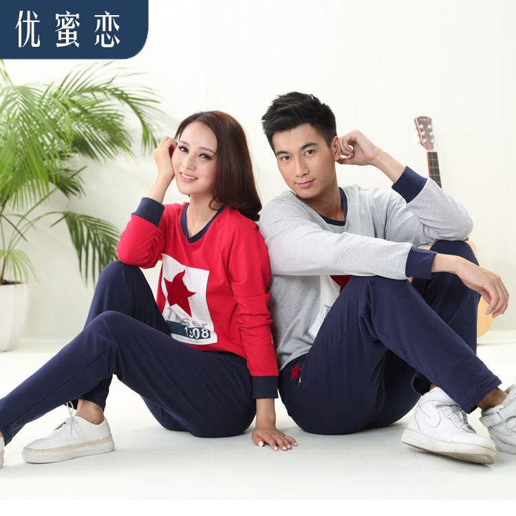 New Cotton Indoor Clothing Long-Sleeve Couples Pajamas Printing Fashion sports suit tracksuit Comfortable Pyjamas Size M-XXL