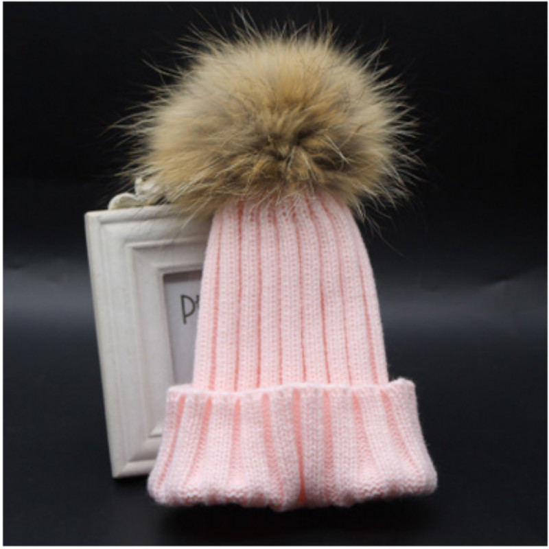 Pink Gray Black Red White Navy Children 100% Real Raccoon Fur Pompon Winter Hat Kids Boy Girl Baby Fur Pompom Knitted Beanies(China (Mainland))