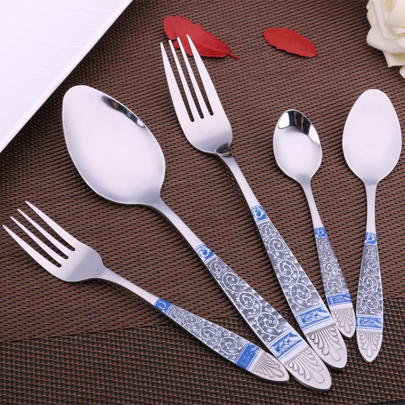Keythemelife High Quality Blue Totem Stainless Steel Spoon Fork Tableware Tea Coffee Ice Cream Spoons Dinnerware D4(China (Mainland))