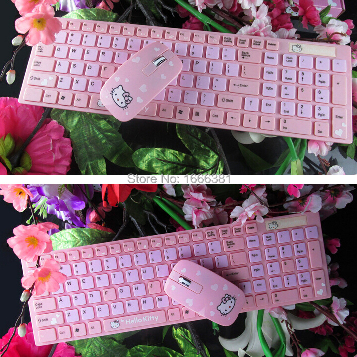 Ergonomically Designed PC Beauty Wireless Hello Kitty Keyboard + Soft Mouse Cute Pink Cat Cartoon Keyboard Free shipping(China (Mainland))